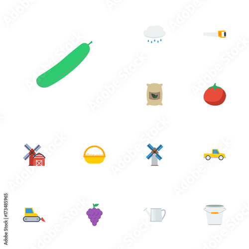 Flat Icons Bulldozer, Rain, Sack And Other Vector Elements. Set Of Agriculture Flat Icons Symbols Also Includes Bags, Egg, Tomato Objects. Wall mural