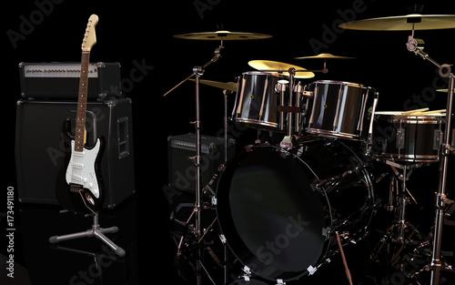 Plakat gitara, wzmacniacz i perkusja w sali muzycznej