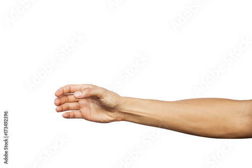 Photo  Hand show holding something like a bottle isolated on white background