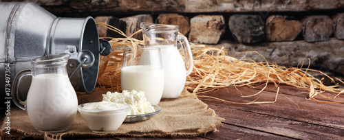Poster Zuivelproducten milk products. tasty healthy dairy products on a table on. sour cream in a bowl, cottage cheese bowl, cream in a a bank and milk jar, glass bottle and in a glass