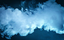 Cloud Of Vapor. Dark Blue Back...