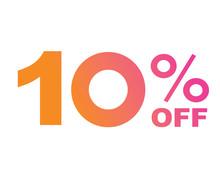 Vector Luxury Gradient Pink To Orange Ten Percent Off Special Discount Word Text