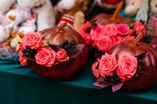 Autumn Bouquet In The Golden Pumpkin, Halloween Inspiration. Autumn Still Life.
