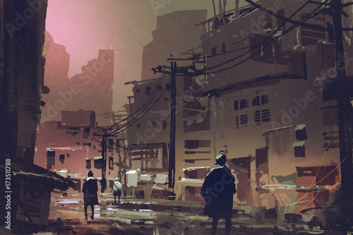 scenery of dirty street in abandoned city at sunset with digital art style, illustration painting