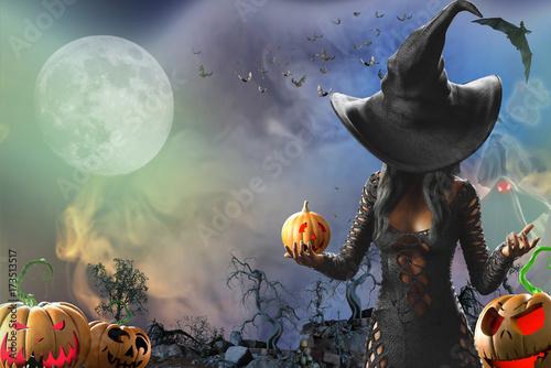 Fotografie, Obraz  3D Illustration of beautiful witch woman Halloween render