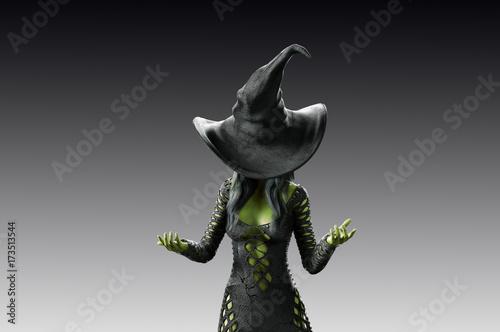 Fototapeta 3D Illustration of beautiful witch woman Halloween render