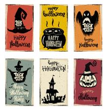 Set Of Halloween Banner Templa...