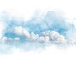 Leinwandbild Motiv Watercolor illustration of sky with cloud (retouch).