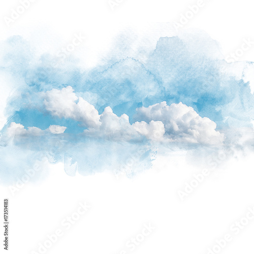 Fototapeta chmury watercolor-illustration-of-sky-with-cloud-retouch