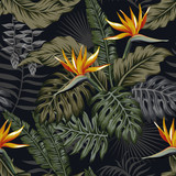 Night tropical seamless pattern plants and flowers - 173517739