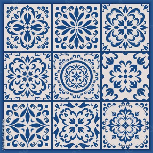 Portuguese tiles with azulejo ornaments Canvas Print