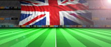 UK Flag In An Illuminated Football Field. 3d Illustration
