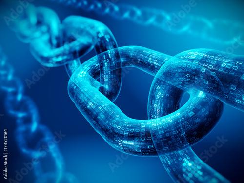 Blockchain-Konzept - digitale Codekette. 3D-Rendering Fototapete