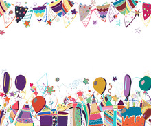 Vector Template For Birthday Party Greeting Card. Hand Drawn Illustration.