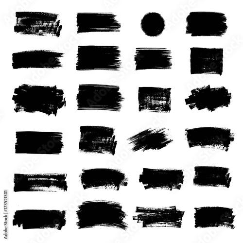 Tuinposter Vormen Set of black paint, ink brush strokes, brushes, lines, circle.