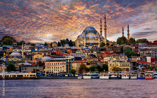 Aluminium Prints Turkey Istanbul city on dramatic sunset, Turkey