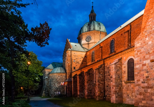 Valokuva  Church at night in Plock, Poland