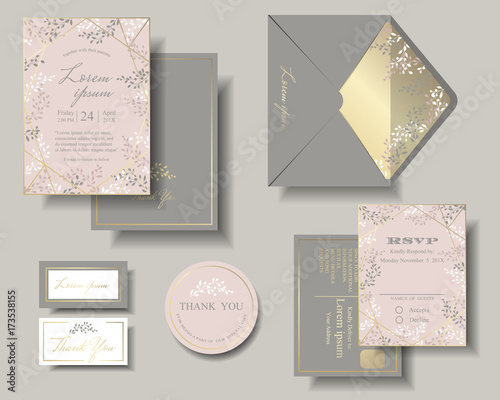 Set Of Wedding Invitation Card Pink And Gray Color Tone