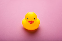 Yellow Rubber Duck On Pink Background. Close-up.