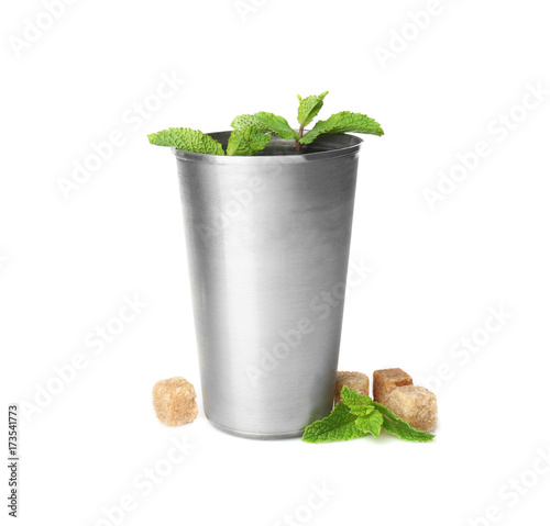 Valokuvatapetti Metal glass with mint julep on white background