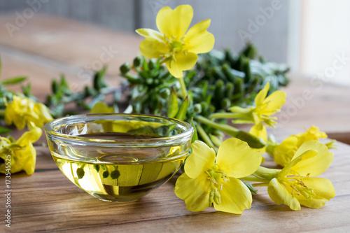 Valokuva  Evening primrose oil in a glass bowl