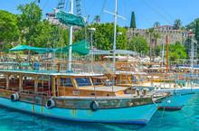 The Moored Ships In Antalya Port
