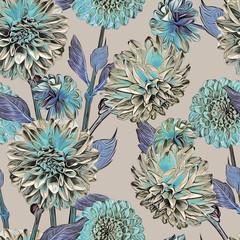 Panel Szklany Podświetlane Florystyczny Dahlias seamless pattern. Artistic background. Hand drawn Illustration.