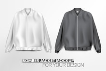 Beautiful, Realistic, Modern Bomber Jacket Mockup For Your Design. Balck And White Colors. Jacket With Zip (zipper). Vector Illustration