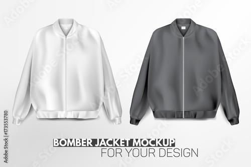 Cuadros en Lienzo Beautiful, realistic, modern bomber jacket mockup for your design