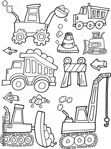 Foto auf AluDibond Cartoon draw Construction Vehicles Vector Illustration Art Set
