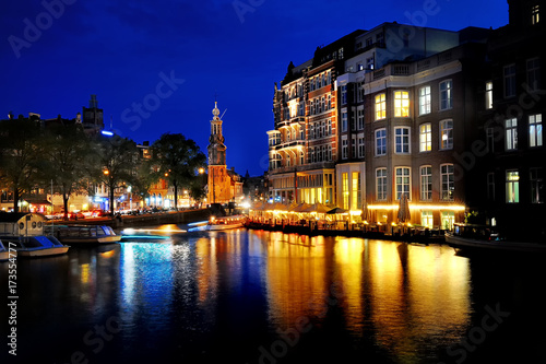 Photo Amsterdam scenic view at night, Holland