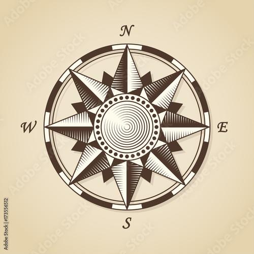 Foto op Canvas Wereldkaart Vintage old antique nautical compass rose. Vector sign label emb