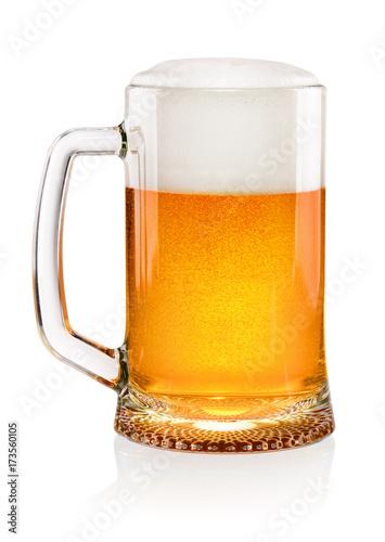 Vászonkép  Glass of beer on white