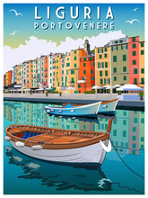 Original Color Sketch Hand Drawing Of Portovenere, Ligury, Italy. Travel Card, Vector Illustration. Poster In The Art Deco Style