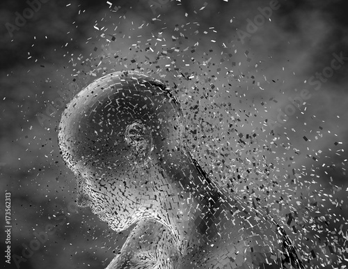 Fotografía  Sad worried shattered woman, anxiety, fear and despair abstract metaphor
