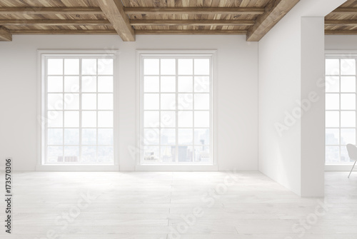 Obraz Empty room with large windows - fototapety do salonu