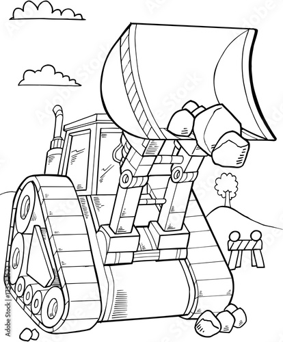 Photo sur Toile Cartoon draw Bulldozer Construction Vector Illustration Art