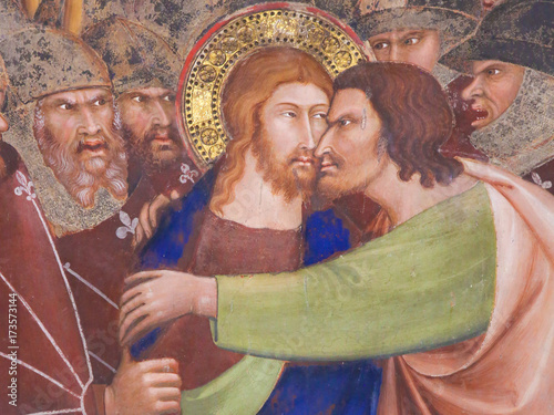Canvas-taulu Fresco in San Gimignano - Kiss of Judas