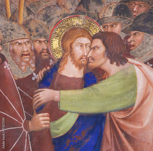 Valokuvatapetti Fresco in San Gimignano - Kiss of Judas