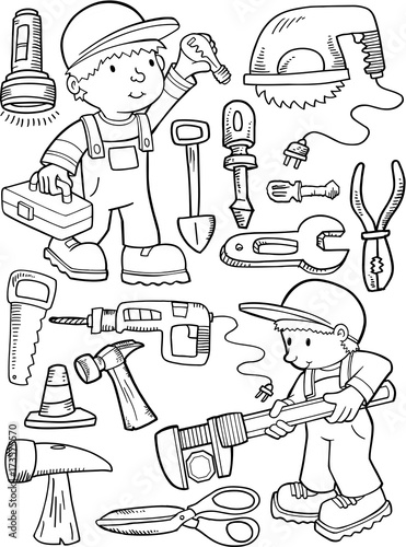 Staande foto Cartoon draw Construction Workers and Tools Vector Illustration Art Set