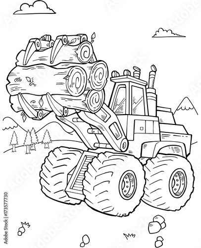 Staande foto Cartoon draw Construction Front Loader Vector Illustartion Art
