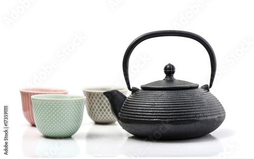 Green tea in cast-iron teapot Canvas Print