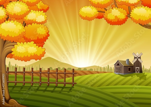 Farm cartoon landscape