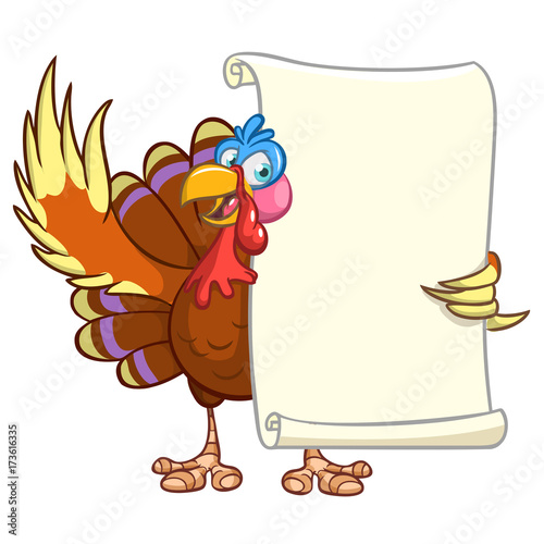 Fotobehang Indiërs Illustration of a cartoon turkey character holding parchment scroll menu for thanksgiving holidays. Vector turkey with blank paper for message
