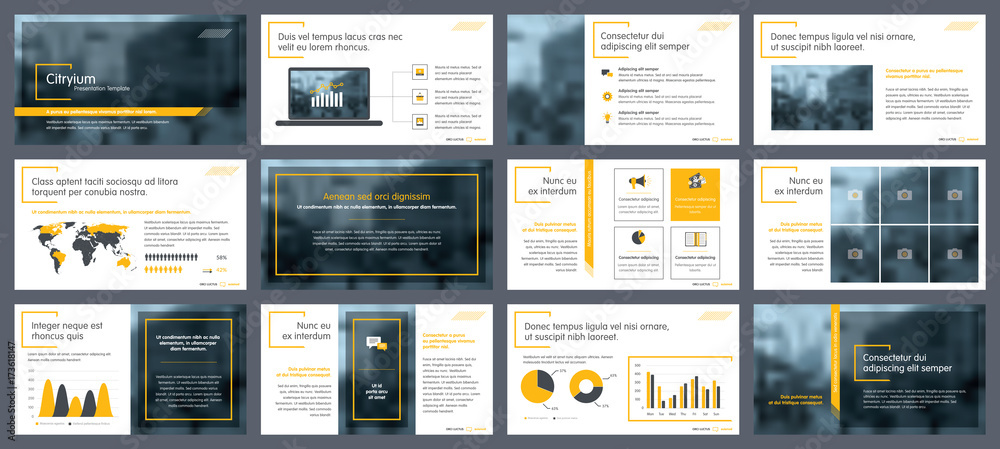 Fototapeta Elements of infographics for presentations templates. Annual report, leaflet, book cover design. Brochure layout, flyer template design. Corporate report, advertising template in vector Illustration.