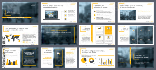 Fototapeta Elements of infographics for presentations templates. Annual report, leaflet, book cover design. Brochure layout, flyer template design. Corporate report, advertising template in vector Illustration.  obraz