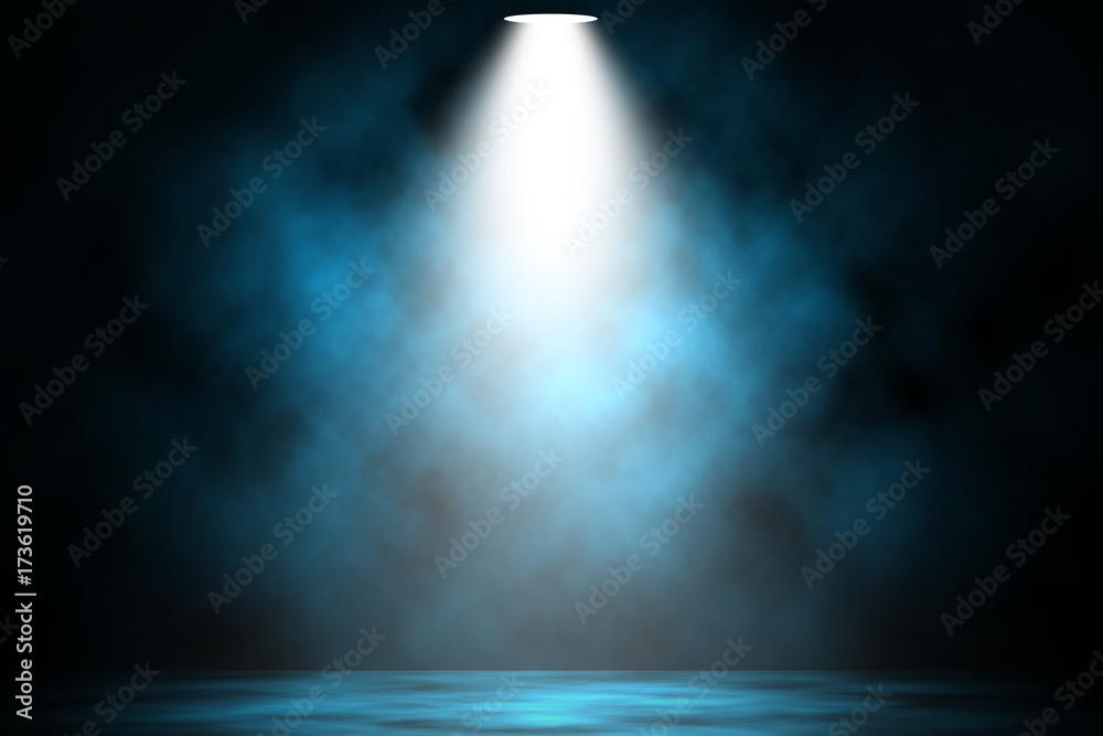 Fototapeta Blue spotlight smoke stage entertainment background.