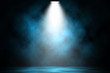 canvas print picture - Blue spotlight smoke stage entertainment background.