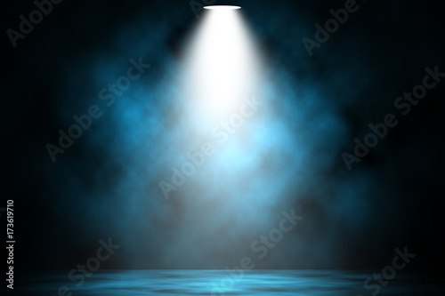 Fotobehang Licht, schaduw Blue spotlight smoke stage entertainment background.