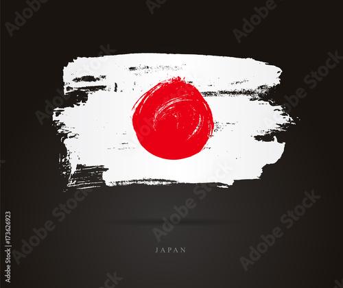 Plakat The flag of Japan. Brush strokes